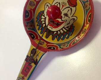Old Noise Makers, Retro Noise Makers, Clown Noisemaker, Clown Noise Makers, Tin Party Noise, Tin Noisemaker, Noisemaker Toy, Old Tin Toys