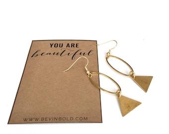 geometric earrings / BEST SELLER / modern earrings / gold dangle earrings / brass earrings / boho earrings / triangle earrings / lightweight