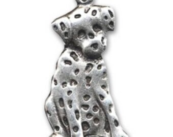 Pendant 46 mm antique silver metal Dalmatian dog * 1