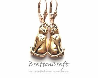 Gold Cat Earrings - Gold Sitting Cat Earrings - Cat Earrings - Cat Jewelry - Cat Lover