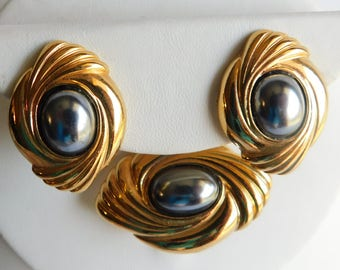 Vintage Gold Plated Hematite Brooch//Pendant & Clip On Earrings Fashion Set