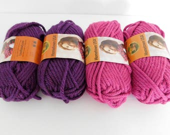 Lion Brand Hometown USA Yarn Pink and Purple - 4 skeins - Super Bulky Weight Yarn Destash