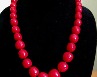 1960's Hand Knotted Cherry Red Puffy Graduated Bead Necklace
