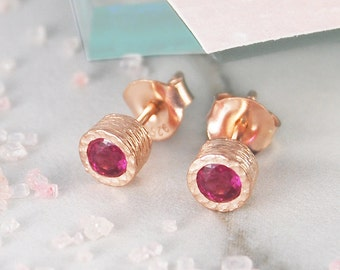 Studs, Rose Gold Studs, Gemstone Studs, Ruby Stud Earrings, Red Gemstone Studs, Birthstone Earrings, Real Ruby Earrings, Natural Stones