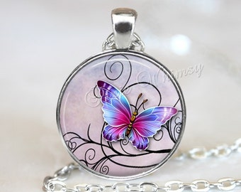 BUTTERFLY Necklace, Butterfly  Pendant, Butterfly Jewelry, Butterfly Keychain, Insect Necklace, Insect Jewelry, Moth, Purple, Lavender