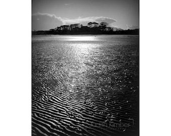 Black And White Photography - Irish Seaside Village Print - Dundrum Bay, County Down - Monochrome Landscape Print - 8x10