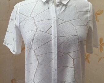 1960s white knit blouse