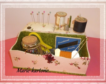 "Pink wooden sewing box""buttons"" No. 2 with cartonnage drawer sewing box"