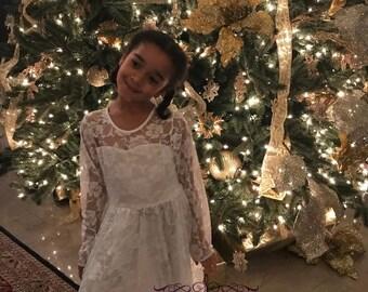 White Lace Girl Dress, Ivory Girl  Lace Dress, Girl  Lace Dress, Long Sleeves Girl Dress, flower girl dress, First Communion Dress D11