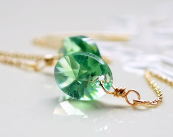 Gold Threader Earrings, Crystal, Genuine Swarovski, Erinite Green, Cable Chain, Delicate Jewelry