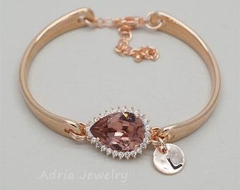 Rose Gold Bangle Bracelet Blush Pink Personalized  Bracelet Initial Jewelry Friendship Bracelet Swarovski Crystal Bracelet Bridesmaid Gifts