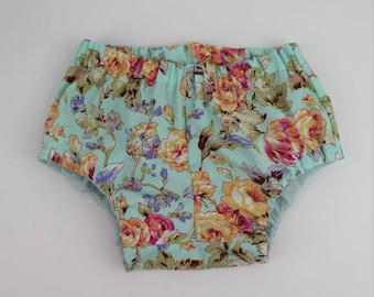 Baby Bloomers Size 1 / soft green blue Floral Bloomers Nappy Cover / Retro Bloomers / Diaper Cover / Girls Bloomers / 12-24 months