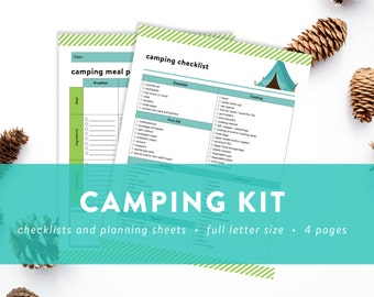 Camping Kit - Happy Camper Kit - Checklist, Meal Planner, Grocery List, Memories Page - INSTANT DOWNLOAD