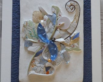 """Painting mosaic """"Emergence"""", glass and broken dishes (Picassiette)"""