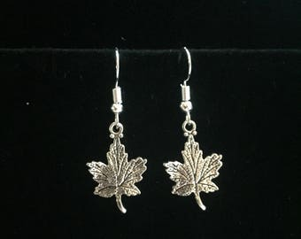 Maple leaf charm earrings