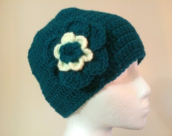 Womens crochet hat with flower