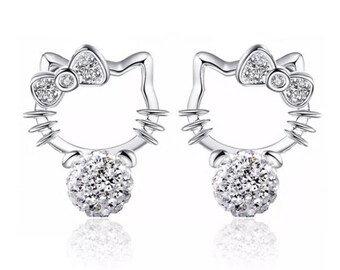 Hello Kitty Inspired Crystal Disco Ball  Stud Earrings