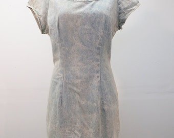 Rad 80's Stone Washed Denim Sheath Dress with Short Sleeves and Metal Zipper MED