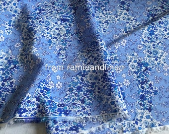 "Silk fabric, blue floral print silk crepe de chine mulberry silk fabric, half yard by 54"" wide"