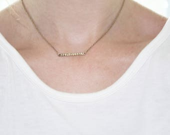 "Gold Bar Necklace - 14"" Necklace - Horizontal Bar Necklace- Delicate Gold Necklace - Layering Necklace - Stamped Bar Necklace"