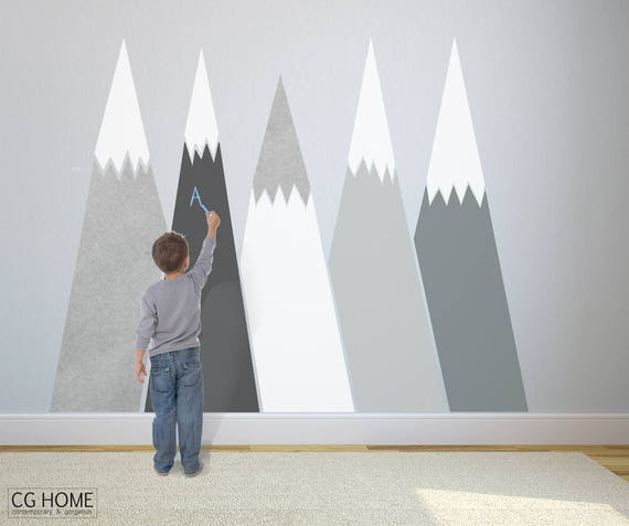 Mountains Wall Decal chalkboard Self Adhesive Removable Wall Protect SILVER custom Nursery Kids Washable Decor Blackboard #mountains016