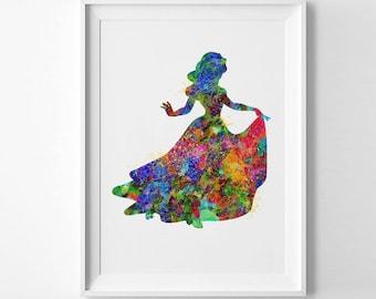 Snow White Disney Princess Printable art Print Watercolor Art Sleeping Beauty Decor Girls Wall Decor Nursery Wall Art Birthday Gifts (039)