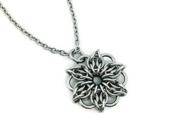 Small pendant etsy small pendantstainless steel pendantflower pendantmandalapendant and chain audiocablefo
