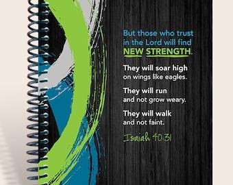 New Strength Men's Journal / Prayer Journal / Personalized Prayer Journal / Isaiah 40:31