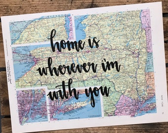 """Vintage New York map quote """"home is wherever I'm with you"""" Map decor. Travel quote map decor"""