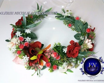 Christmas baby crown,Flower Girl Crown,Toddler flower headpiece,Baby Flower Headband,Red flower baby wreath,Wedding flower crown