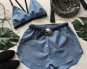 Light Blue linen Festival Outfit Matching set triangle bra top bralette crop top and high waist racer shorts