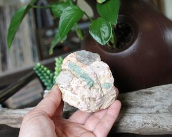 253g aigue-marine & Quartz dans la matrice, Pierre de cristal brut spécimen de 3», Chakra, Reiki, Pagan, Wiccan, Wicca, Rock Shop