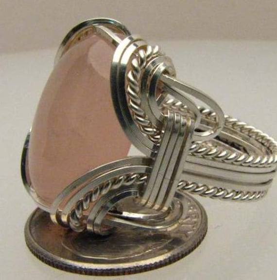 Handmade Wire Wrapped Rose Quartz Sterling Silver Ring.  Custom Personalized Sizing to fit you.