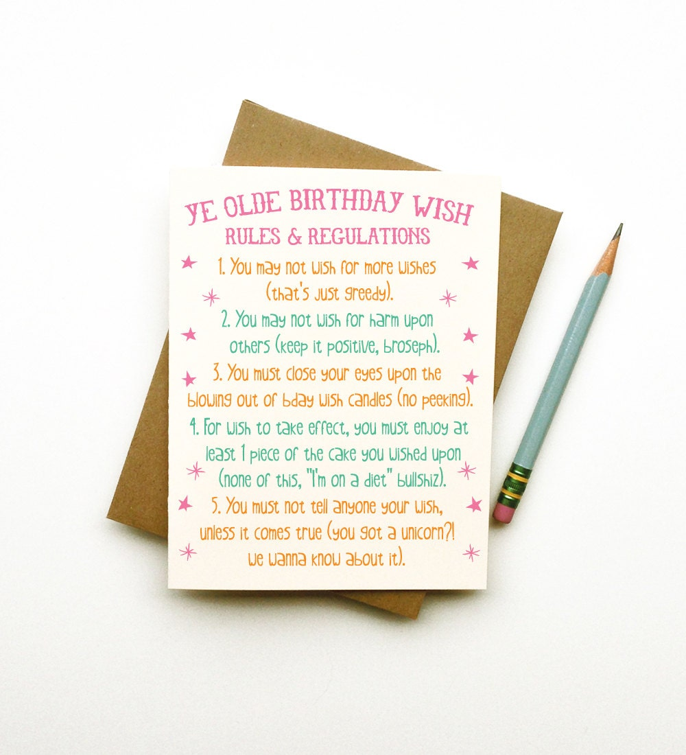 Ye olde birthday wish rules funny quirky cheeky eco friendly ye olde birthday wish rules funny quirky cheeky eco friendly illustration birthday card best friend husband wife adult teen sarcastic kristyandbryce Image collections