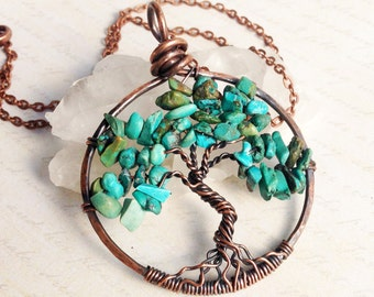Tree of Life Necklace, Turquoise, Copper Wire Pendant, Wire Wrapped Blue Gemstone, semiprecious stone, talisman, December birthstone gift