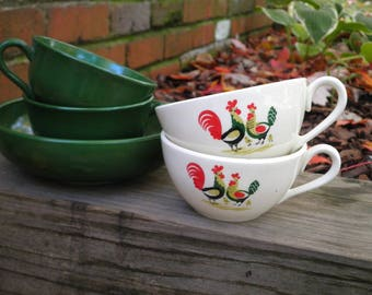 Vintage Hazel Atlas Ovide Green Milk Glass Cup & Bowl Set, Hunter Green Glass Mugs - Farmhouse Chic Retro Chicken + Rooster Ceramic Tea Cups
