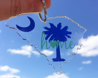 South Carolina Palmetto Tree and Moon Home Love Keychain