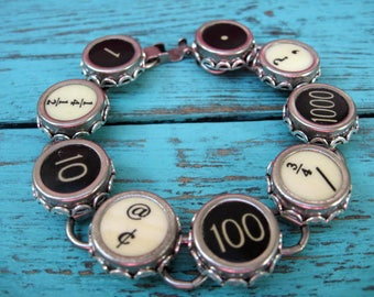 Typewriter Key Bracelet - Antique Typewriter Jewelry -  B5004 - Random Keys