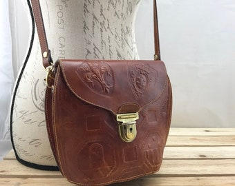 Brown Leather Crossbody Bag Flap Bag Made in Italy