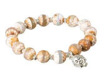 Agate 8mm Gemstone Mala Bracelet - Yoga Meditation Buddha Bracelet