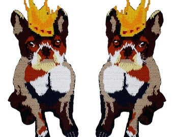 1pair Large Crown Dogs Fabric Patches Cross Stitch Motif Applique Clothes Iron on Stickers DIY Apparel Sewing Supplies TH1080
