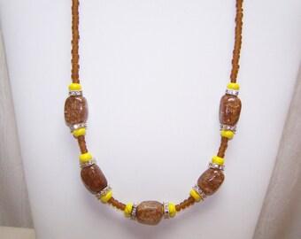 Yellow turquoise  and ice flake quartz necklace