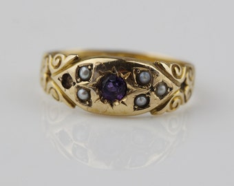 Antique Victorian 15ct Gold English Ring with Amethyst and Pearls  Size UK L 1/2  US 6  Missing a Stone