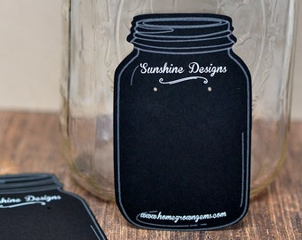Black White Mason Jar Chalkboard Custom Earring Display Cards - Jewelry Display - Packaging - Price Tags - Personalized | DS0016