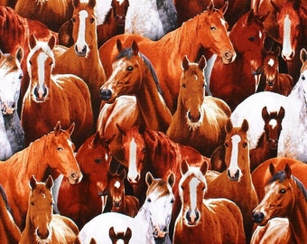 Farm Animals Horses Elizabeth Studio 433 100% Cotton Fabric FQ 1/2 Full Metre