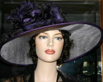 Kentucky Derby Hat Ascot Edwardian Tea Hat Titanic Hat Somewhere Time Hat Downton Abbey Hat Edwardian Hat Women's Purple - Kentucky Morning
