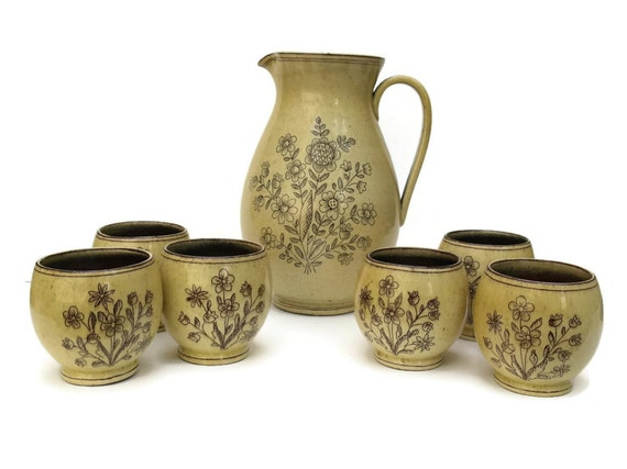 Antique Pitcher Set. Hand Painted Flower