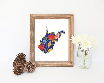West Virginia Printable, West Virginia State Art Print, Floral Print, State Print, Wall Art, West Virginia Art, Office Decor, Wedding Gift