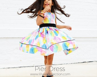 Pier dress pdf pattern side triangle cut out party dress with full skirt pockets and hem band