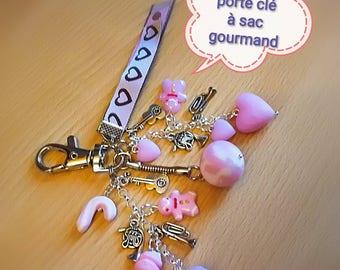 Pale pink rose quartz music bag keychain